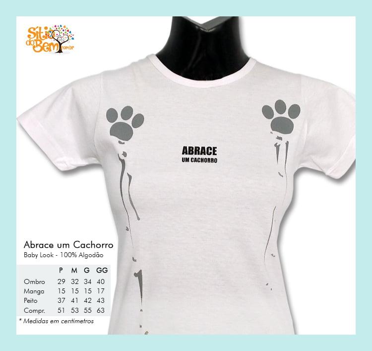 Camiseta baby-look desenho de cachorro abrace um cachorro