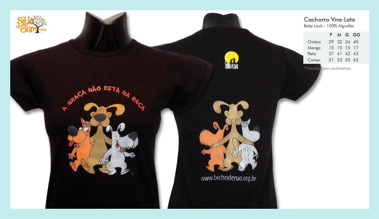Camiseta baby-look desenho de cachorro vira-lata