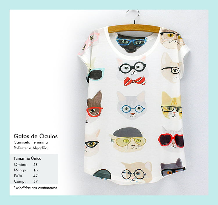 Camiseta desenho de gato com óculos