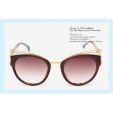 Óculos de Sol Cat Eye Marrom com Dourado