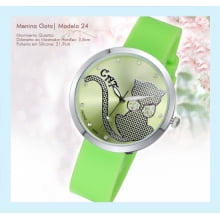Relógios de Pulso Desenho de Gato Verde Limão