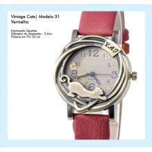 Relógio de Pulso Feminino Vintage Cats