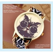 Relógios de Pulso Feminino Desenho de Gato Étnico