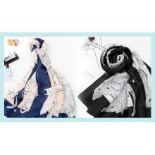 Echarpe com desenho gatos de seda