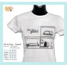 Camiseta desenho de gato folgado
