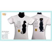 Camiseta baby-look desenho de gato preto teimoso