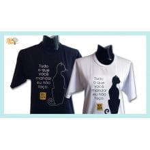 Camiseta desenho de gato preto teimoso
