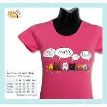 Camiseta baby-look desenho de gato cats crazy lady