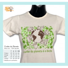 Camiseta baby-look desenho meio ambiente planeta bicho