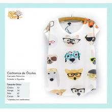 Camiseta desenho de cachorros com óculos