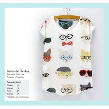 Camiseta desenho de gatos com óculos