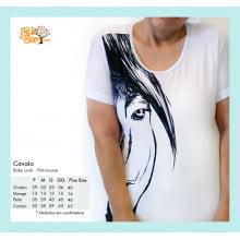 Camiseta Baby Look com Desenho de Cavalo