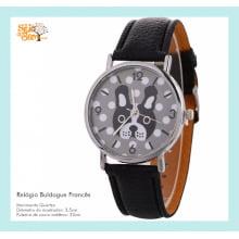 Relógio de Pulso Feminino com Desenho Bulldog Francês