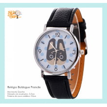 Relógio de Pulso Feminino com Desenho de Buldogue Francês Azul