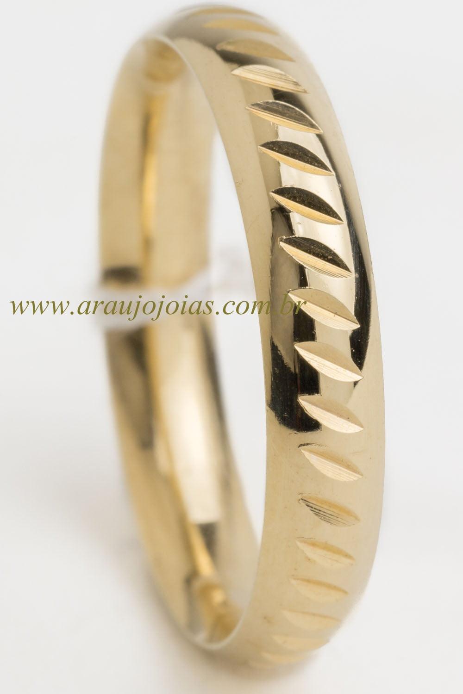 Aliança de casamento em ouro 18K 750 Folhetim