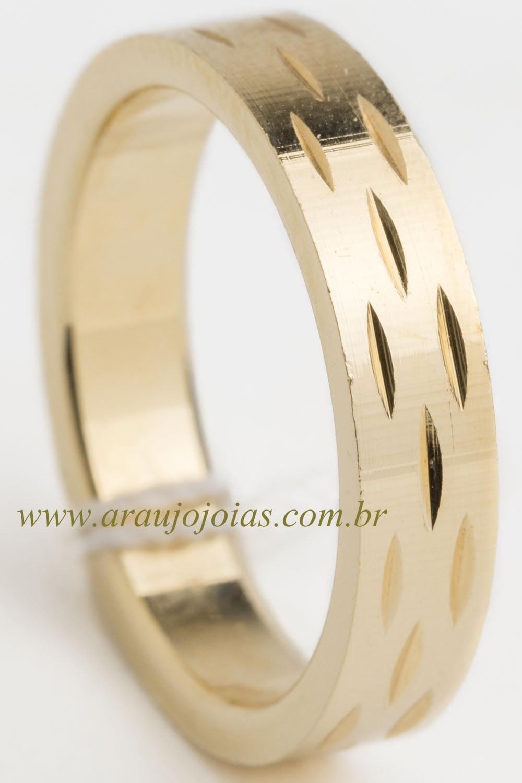 Aliança de casamento em ouro 18K 750 Contornos