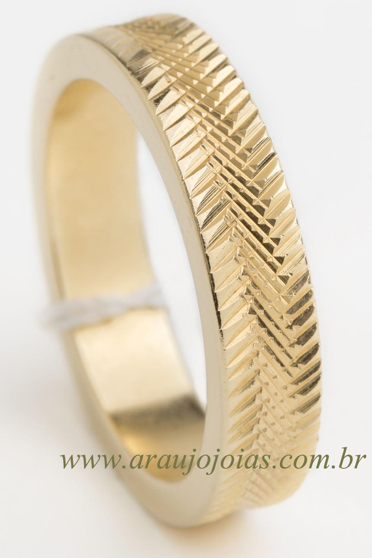 Aliança de casamento em ouro 18K 750 Encontro das Águas