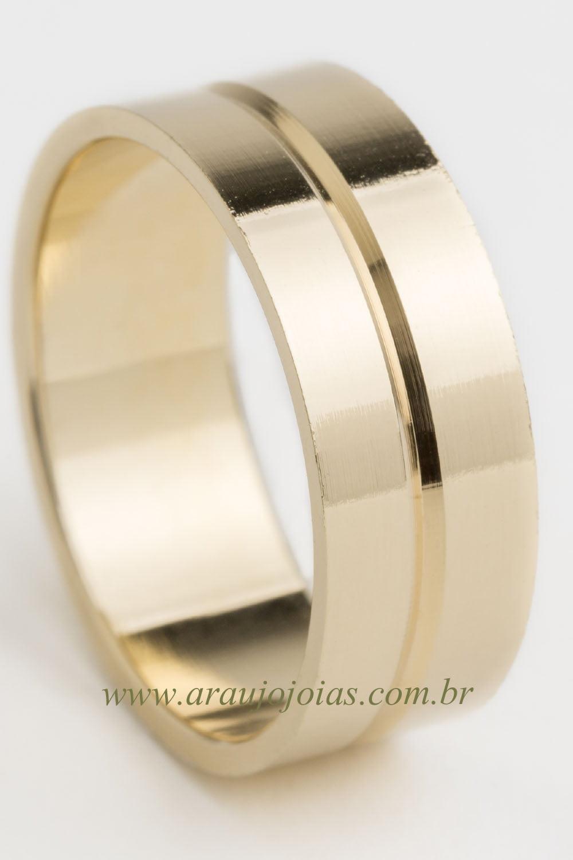 Aliança de casamento em ouro 18K 750 Iris