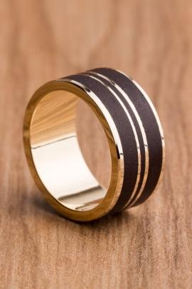 Aliança de casamento em ouro 18K 750 e madeira Amazônia - Valor Unitário