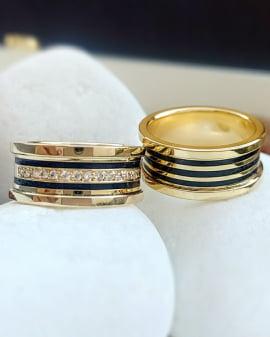 Aliança de casamento em ouro 18K 750 e madeira  Exuberance - Valor Unitário