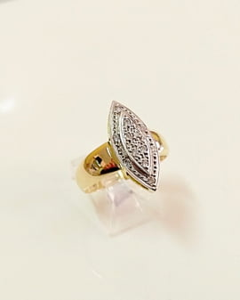 ANEL MARQUISE EM OURO 18K 750 AG 110