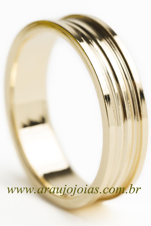 Aliança de casamento em ouro 18K 750 Dois Passos