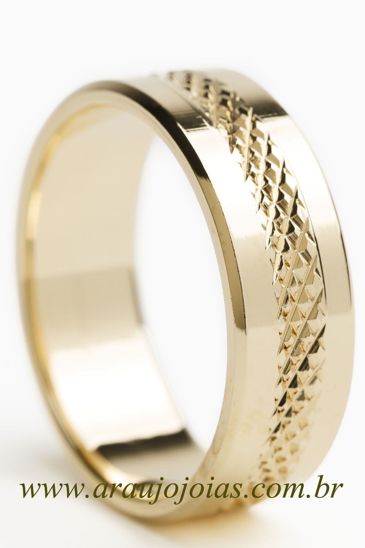 Aliança de casamento em ouro 18K 750 Trilhas