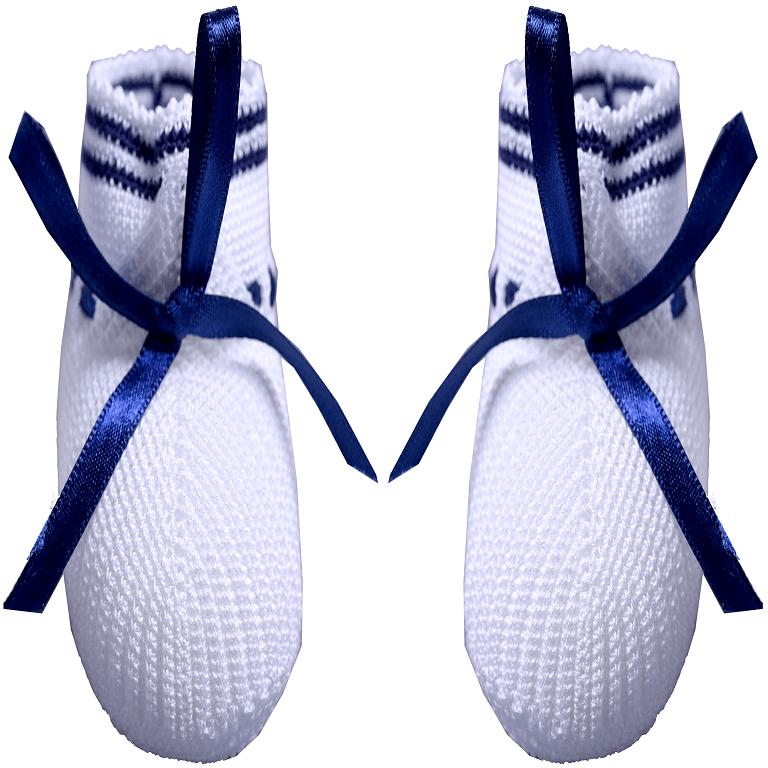 Sapatinho crochê azul marinho e branco - 0 a 3 meses