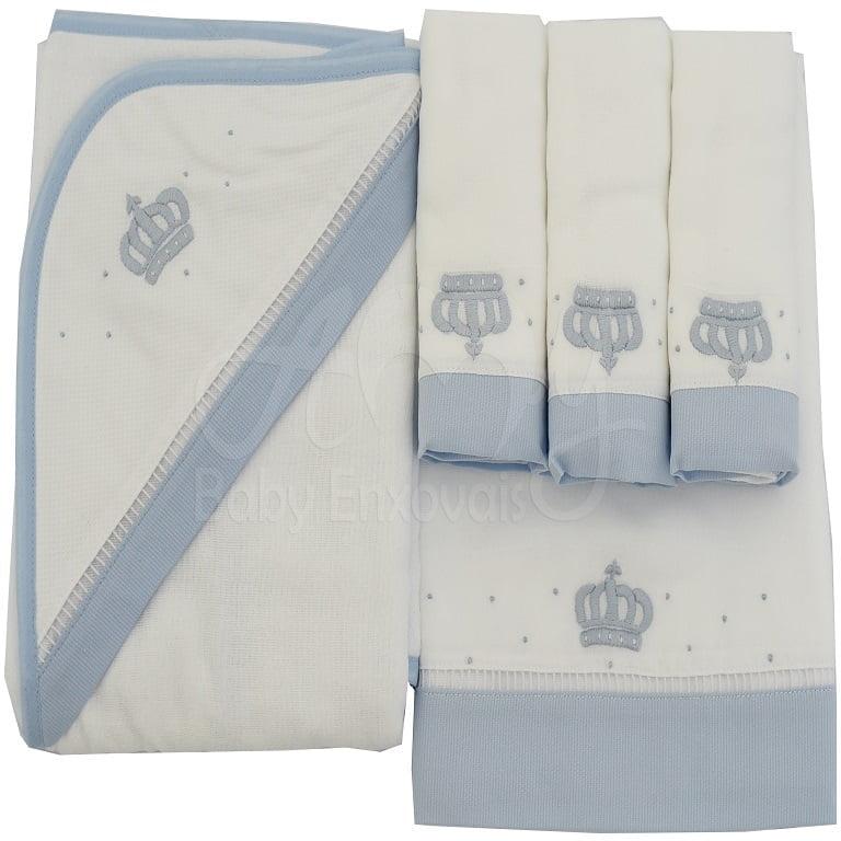 Enxoval bordado coroa azul - 5 peças