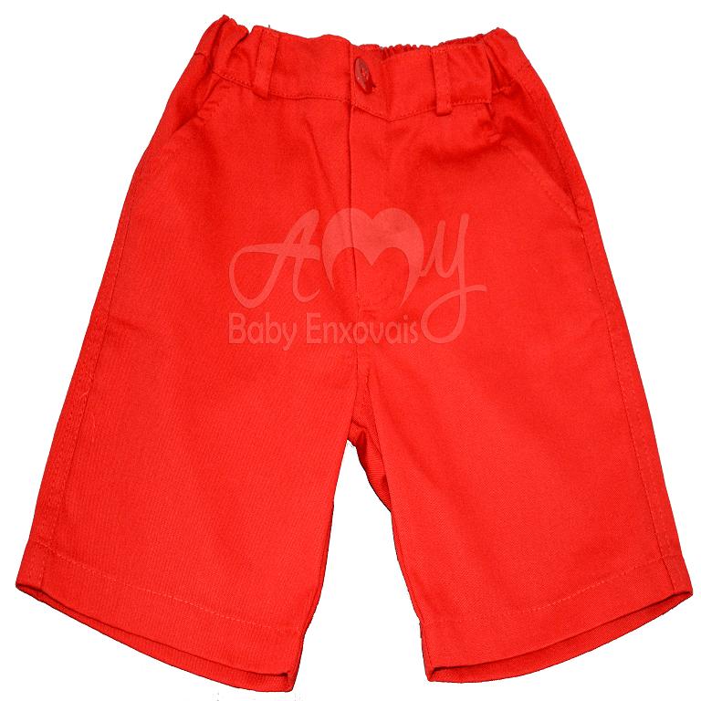 Bermuda infantil brim vermelha - 2 anos