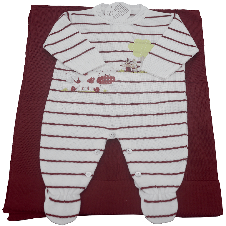 Saída de maternidade em tricot listrado com aplicação fazendinha