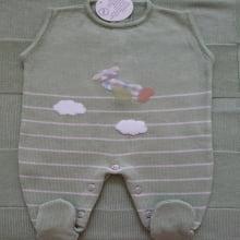 Saída de Maternidade em tricot Verde com bege Ursinho