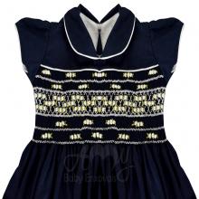 Vestido casinha de abelha azul marinho Iza 1 ano