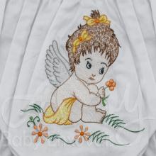 Calcinha bordada menina anjinho