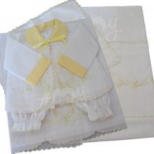 Lençol berço bordado com conjunto pagão amarelo - 6 peças