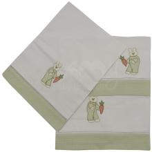 Jogo de berço bordado manual coelhinho  - 3 peças