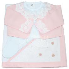Saída de maternidade com manta rococó rosa