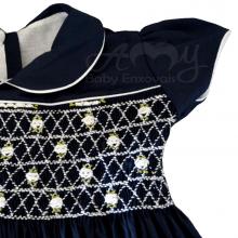 Vestido casinha de abelha em ponto smock azul marinho - 1 ano