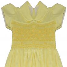 Vestido casinha de abelha em ponto smock rococo amarelo - 1 ano