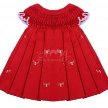 Vestido casinha de abelha vermelho com florzinhas - 1 ano