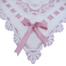 Manta richelieu piquê floral laço rosa