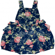 Jardineira infantil azul floral