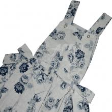 Jardineira infantil flora azul