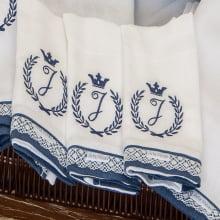 Enxoval bebê clássico coroa azul marinho - 8 peças