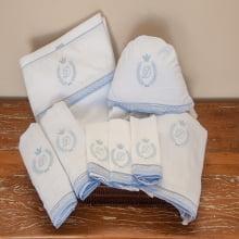 Enxoval bebê clássico coroa azul - 8 peças