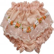 Calcinha infantil bordada com tiara rococo salmão