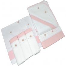 Presente para recem nascido rococó rosa - 6 peças