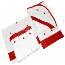 Presente para recém nascido rococó vermelho - 6 peças