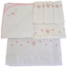 Enxoval renda renascença floral rosa - 6 peças