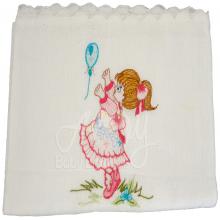 Presente para recem nascido bordado menina com balão - 3 peças